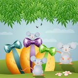 Easter cheese eggs with mouse Royalty Free Stock Photo
