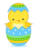 Easter chick. Cute little easter chick coming out from a colorful easter egg illustration isolated on white background vector illustration
