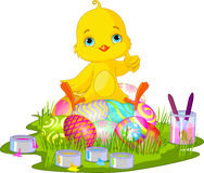Easter chick. Cute newborn chick sitting on Easter eggs stock illustration