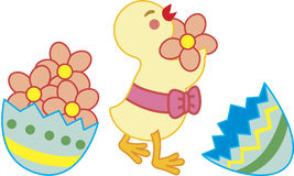 An easter chick. A chick with ribbon collecting flowers/ easter egg vector illustration