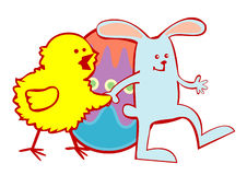 Easter Chick And Bunny Royalty Free Stock Photo