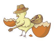 Easter chick with bouzouki Royalty Free Stock Photography