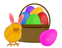 Easter Chick with Bunny Ears Headband and Basket Stock Images