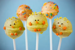 Easter chick cake pops Royalty Free Stock Image