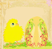 Easter chick cartoon character,Happy Easter Card. Royalty Free Stock Photo