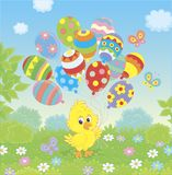 Easter Chick with colorful balloons royalty free illustration