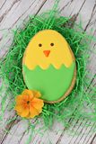 Easter chick cookie. Easter chicken cookie on a weathered wooden background Stock Photo