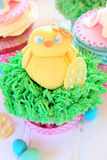 Easter Chick cupcake. An Easter cupcake with a baby chick made out of fondant Stock Image