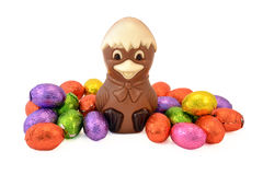 Easter chick with Easter eggs. Royalty Free Stock Image