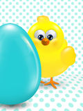 Easter chick and egg over dotted  background Stock Image