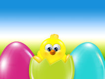 Easter chick  hatched from egg over blue sky. With place for text Stock Photography