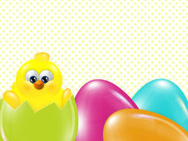 Easter chick  hatched from egg over dots background. With place for text Royalty Free Stock Photos