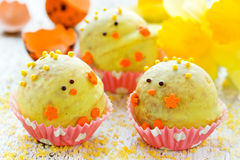Easter chick homemade candy in chocolate, holiday treats for kid Stock Photo
