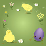 Easter Chick Hopping Cracking Out of Egg. Easter chick illustration, cute, hopping and one cracking out of colored egg. Flowers in grass including tulips. Page Stock Images