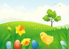 Easter chick. Illustration of an Easter scene Stock Photo