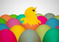Easter chick. Illustration of an Easter chick surrounded by colorful eggs Stock Images