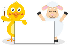 Easter Chick & Lamb with Blank Banner Stock Image
