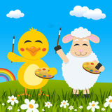 Easter Chick & Lamb Painters & Rainbow Royalty Free Stock Photography