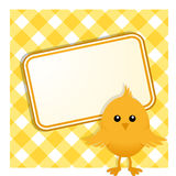 Easter chick and sign on gingham Royalty Free Stock Image