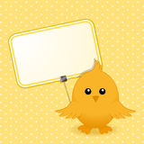 Easter chick and sign Stock Photo