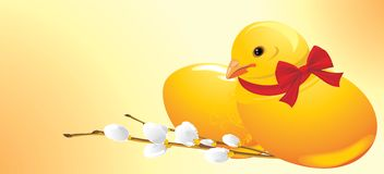 Easter chick and willow branch. Festive banner Stock Images