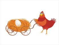 Easter chicken with baby buggy and egg. Easter chicken with hay-baby buggy and egg Royalty Free Stock Image