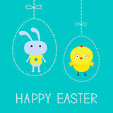 Easter chicken and bunny. Hanging dash eggs. Card. Stock Photos