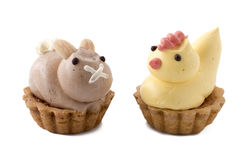 Easter chicken and bunny pastry. Royalty Free Stock Photo