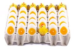Easter Chicken, candles that look like eggs Stock Photo