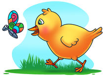 Easter Chicken Chasing a Butterfly Royalty Free Stock Photography