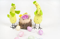 Easter chicken and cock Royalty Free Stock Image