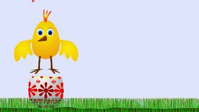 Easter chicken - disagreeable surprise. Animated cartoon - adorable Easter chicken and strange Easter egg royalty free illustration