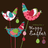 Easter chicken with easter eggs Royalty Free Stock Photos