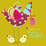 Easter chicken with easter eggs Royalty Free Stock Photo