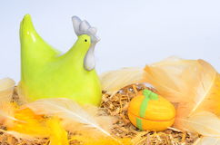 Easter chicken and egg decoration. Easter decoration with chicken and egg on white background stock image