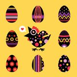 Easter chicken and eggs card - black Stock Image