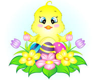 Easter Chicken with Eggs and Flowers Stock Image