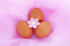 Easter chicken eggs on pink fabric Royalty Free Stock Photos