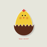 Easter chicken greeting card. Greeting card with easter chicken sitting in chocolate easter egg shell Stock Photos