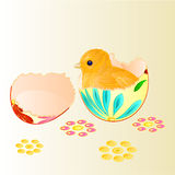 Easter chicken hatched from Easter eggs vector Royalty Free Stock Photos