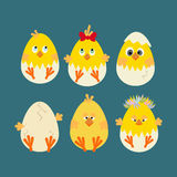 Easter Chicken Icon. Egg, chick on the blue background. Vector illustration Stock Photos