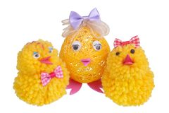 Easter chicken mother and chickens kids made of cloth and thread isolated. Easter homemade, chicken mother and chickens kids made of cloth and thread. Isolated royalty free stock images