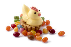 Easter chicken pastry with jelly beans Royalty Free Stock Photos