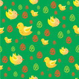 Easter chicken pattern. Seamless background pattern with Easer chickens and eggs Stock Illustration