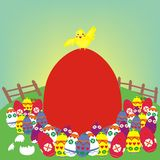 Easter chicken and the red egg. There is a yellow chicken on top of a red egg shape text background and other ornamental colored eggs. All of them are placed in Stock Image