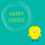 Easter chicken and scribble speech bubble. Card. Royalty Free Stock Photo