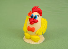Easter chicken from white chocolate and culinary mastic Stock Image