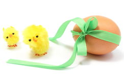 Easter chickens and egg with green ribbon. White background Royalty Free Stock Photos