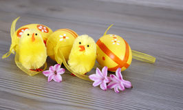 Easter chickens and eggs Stock Photo