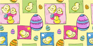 Easter chickens with eggs - seamless pattern Stock Photography